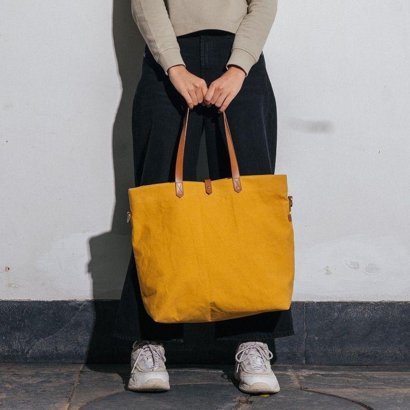 Mustard Yellow Buoy Tote Bag | Klippik | Best Tote Bags | Online Shopping | Kuwait UAE Saudi