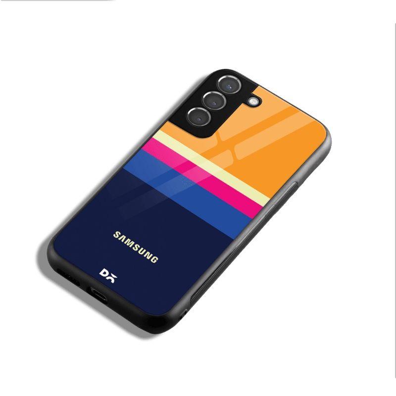 Blue and Yellow Glass Case for Samsung Galaxy S21 | S21 Plus | KlippiK Kuwait UAE Saudi Online Shopping