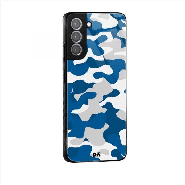 Camouflage Blue Glass Case for Samsung Galaxy S21 | S21 Plus | KlippiK Kuwait UAE Saudi Online Shopping