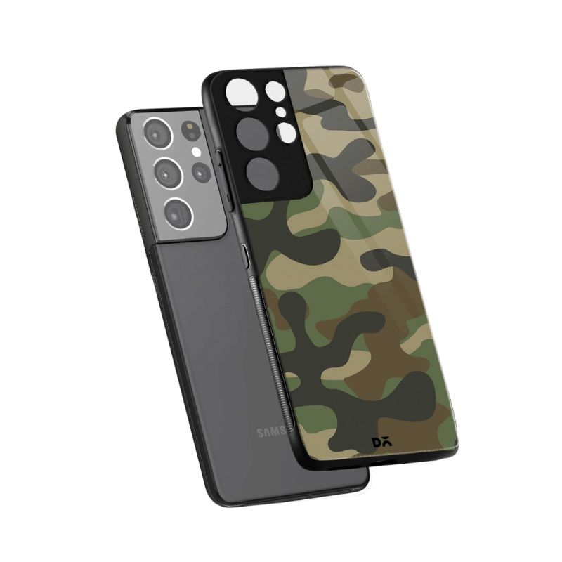 Camouflage Glass Case for Samsung Galaxy S21 Ultra | KlippiK Kuwait UAE Saudi Online Shopping
