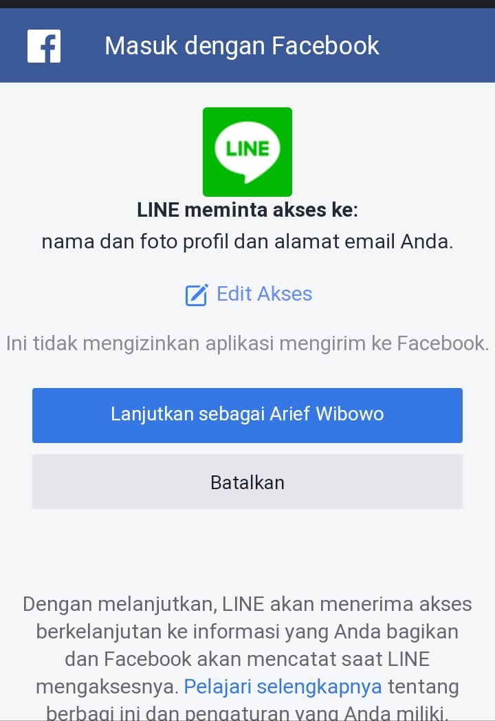 Izinkan Line Meminta Akses Ke Facebook