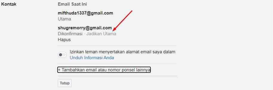 Ubah Email Facebook Baru Jadi Email Utama