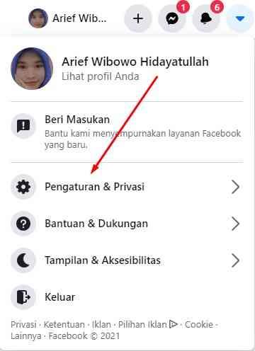 Masuk Ke Pengaturan & Privasi