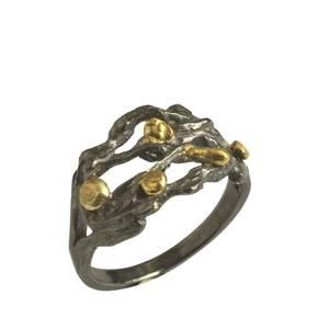 Sølvring med guld og oxyd