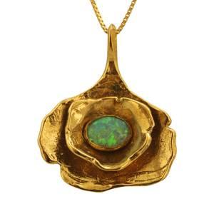 Massivt guldvedhæng med opal