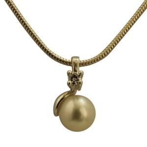 Elegant sølvvedhæng med brillant og perle