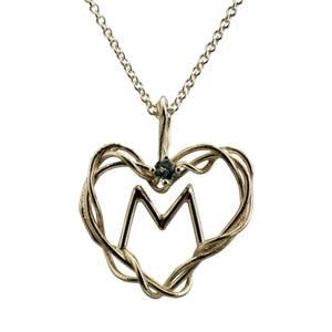 Hjerte af sølvtråde med akvamarin