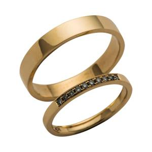 Lette glatte ringe med brillanter i dame ringen