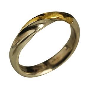 Sølvring med 24 karat guld