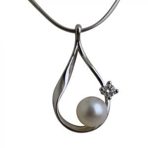 Hvidguld dråbe med perle og diamant