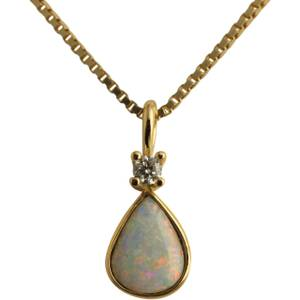 Opal dråbe med diamant