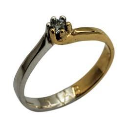 Solitaire ring i guld og hvidguld