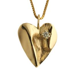 Unik guldhjerte med diamant