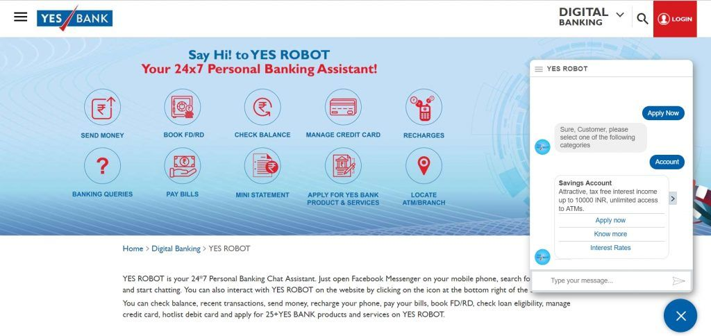Yes Bank chatbot