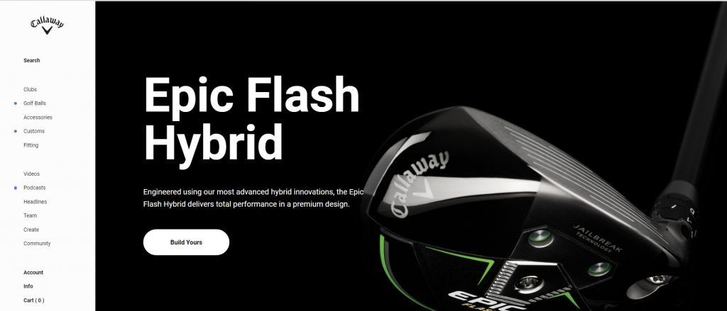 Home page of Callaway website