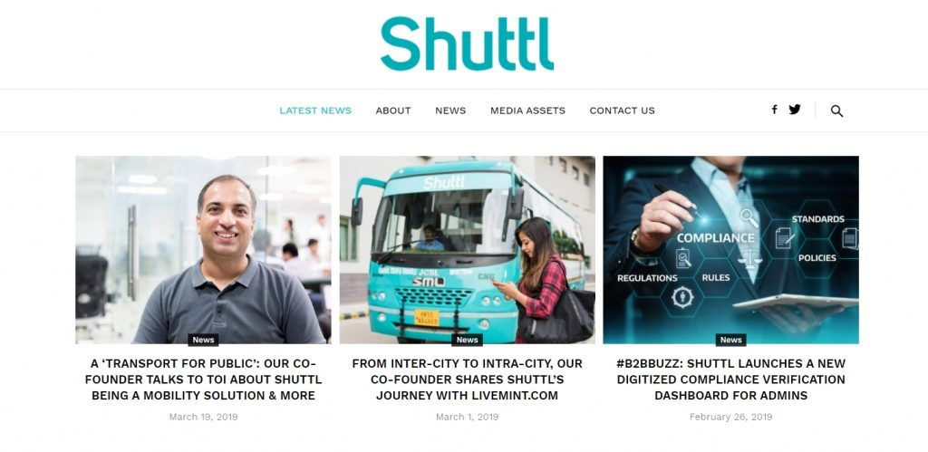 Shuttle bus service media pages