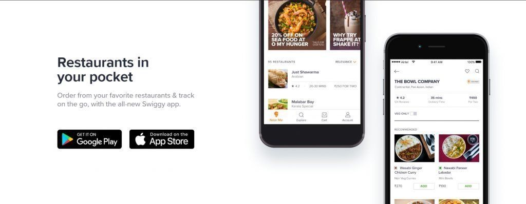 Swiggy food delivery app in India