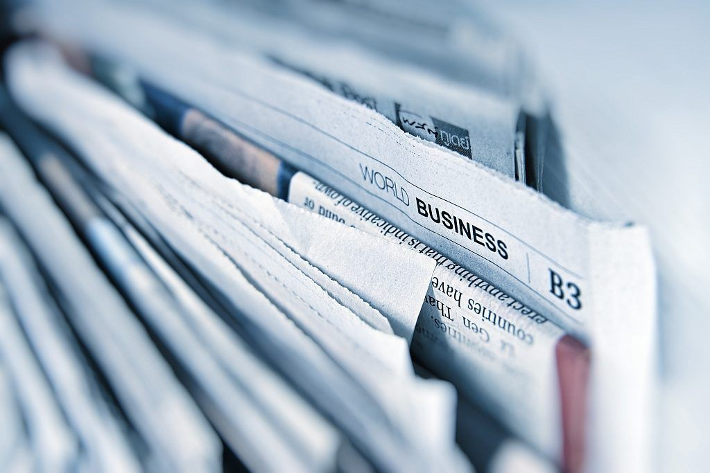 A close-up of newspapers