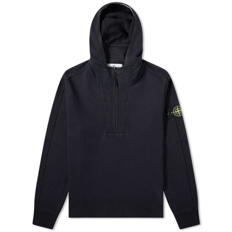 Stone Island Garment Dyed Half-Zip Hoody in Navy