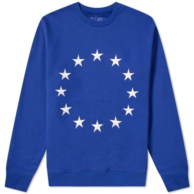 Etudes Story Europa Embroidered Star Crewneck in Blue