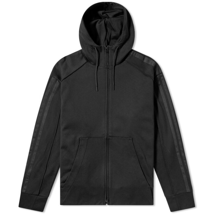 Y-3 Black Skull Hoodie Embroidered in Black