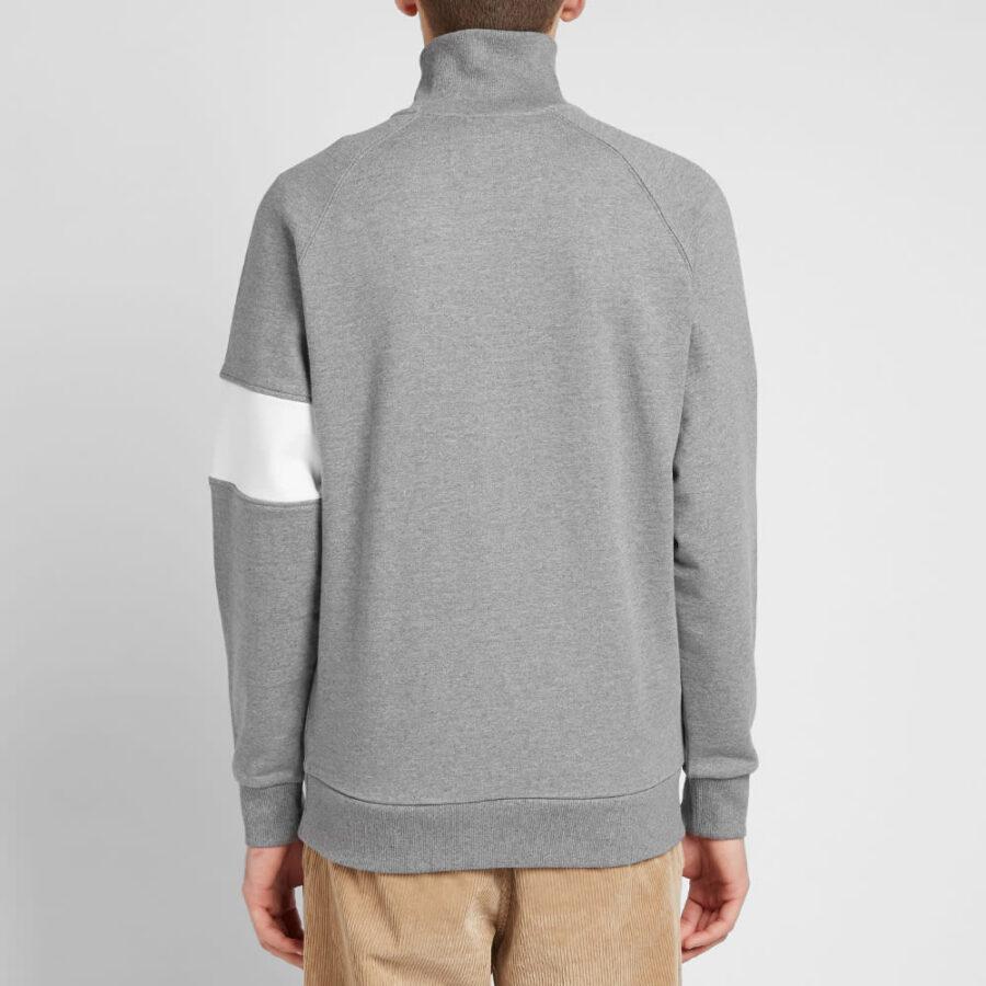Calvin Klein Institutional Logo Half Zip Crewneck in Grey and White