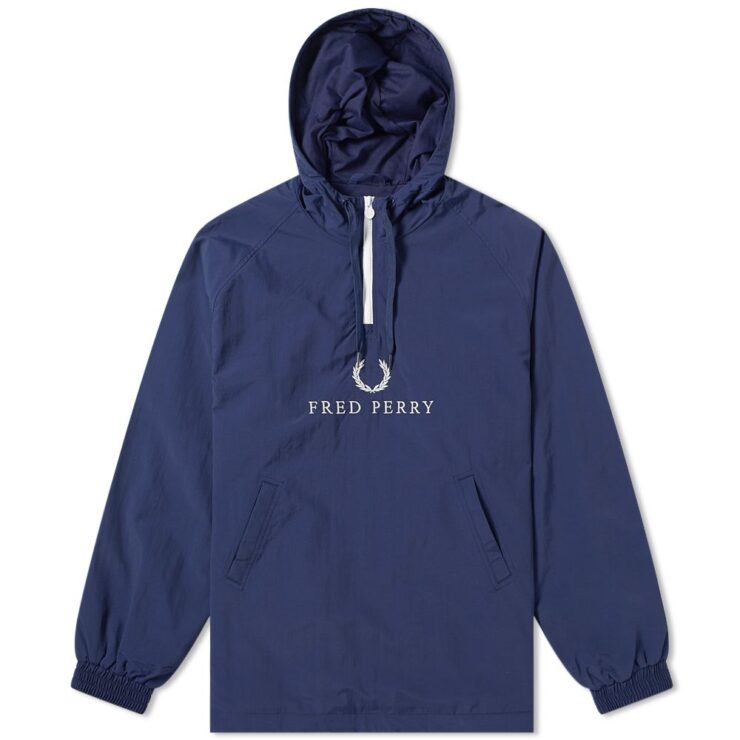 Fred Perry Embroidered Half-Zip Jacket in Carbon Blue