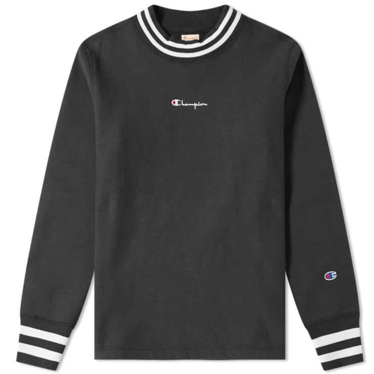 Champion Reverse Weave High Crewneck in Black
