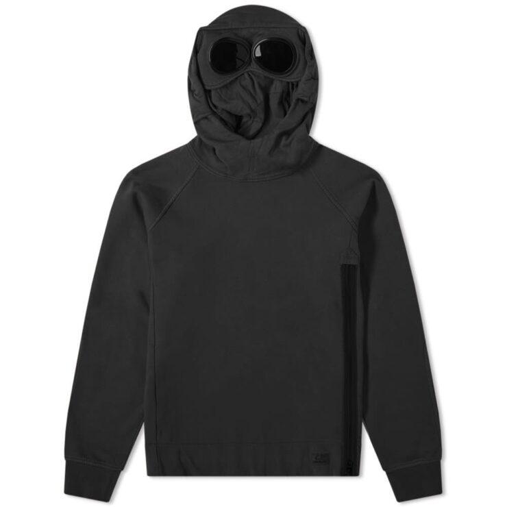 C.P. Company Side Zip Goggle Hoodie in Black