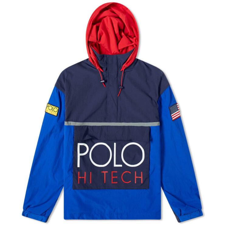 Polo Ralph Lauren Hi-Tech Popover Hoody in Blue, Navy & Red
