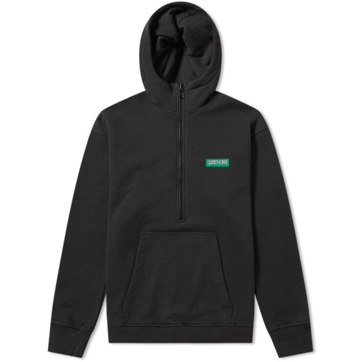 Brain Dead Half Zip Hoodie in Black
