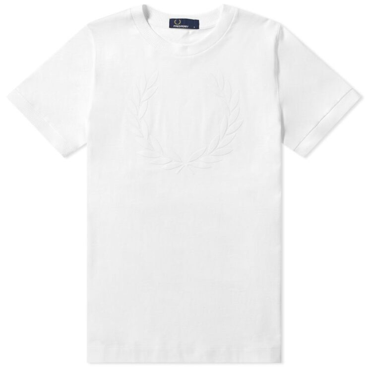Fred Perry Laurel Wreath Flocked T-Shirt in White