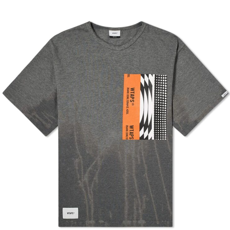 WTAPS Melancholic T-Shirt in Bleached Grey and Orange