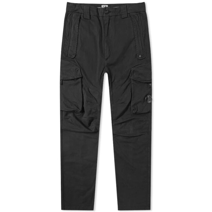 C.P. Company Garment Dyed Lens Pocket Cargo Pants in Black