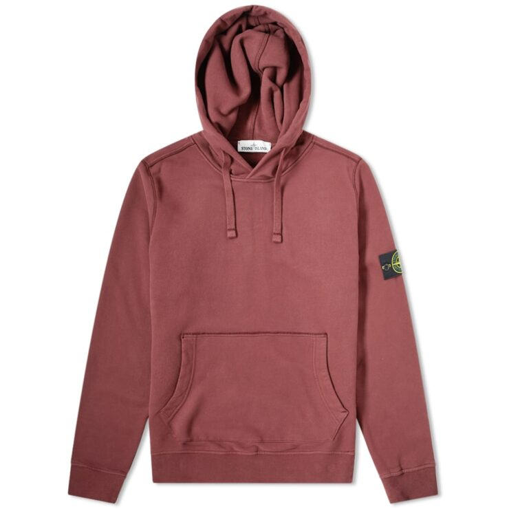 Stone Island Garment Dyed Hoodie in Mosto Red