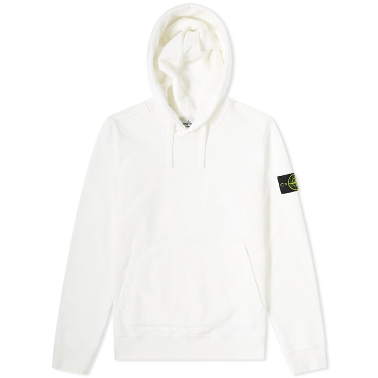 Stone Island Garment Dyed Hoodie in Whte