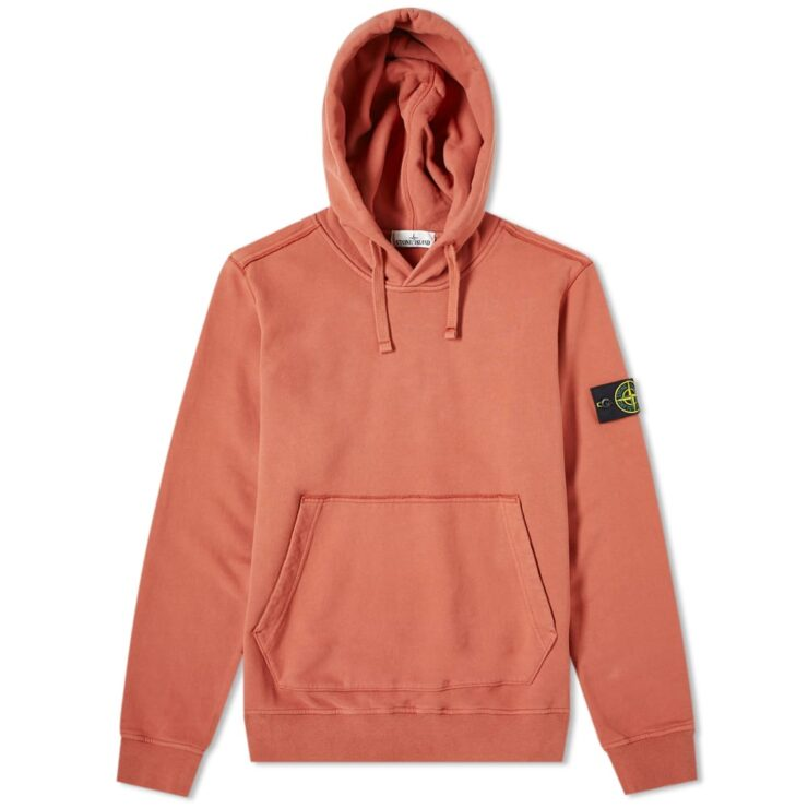 Stone Island Garment Dyed Hoodie in Ruggine Orange Rust