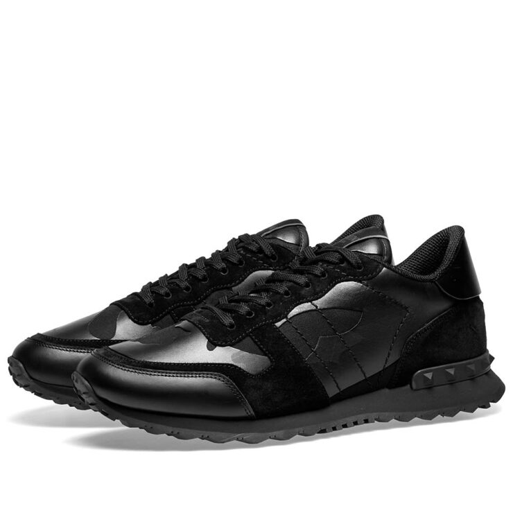 Valentino Rockrunner Sneakers in Metallic Black Camo