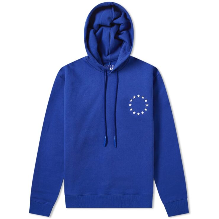 Etudes Klein Embroidered Europe Stars Hoodie in Cobalt Blue