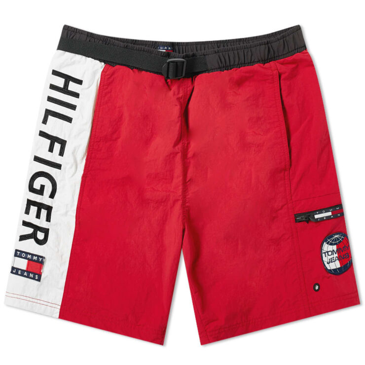 Tommy Jeans Summer Logo Shorts in Red Cherry White