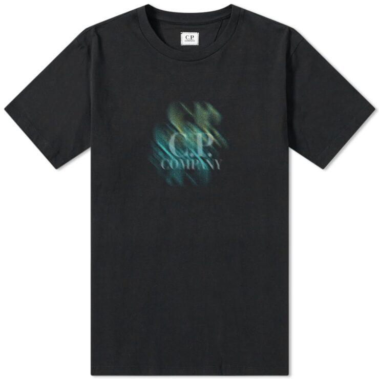 C.P. Company Double Reverse Logo T-Shirt in Black
