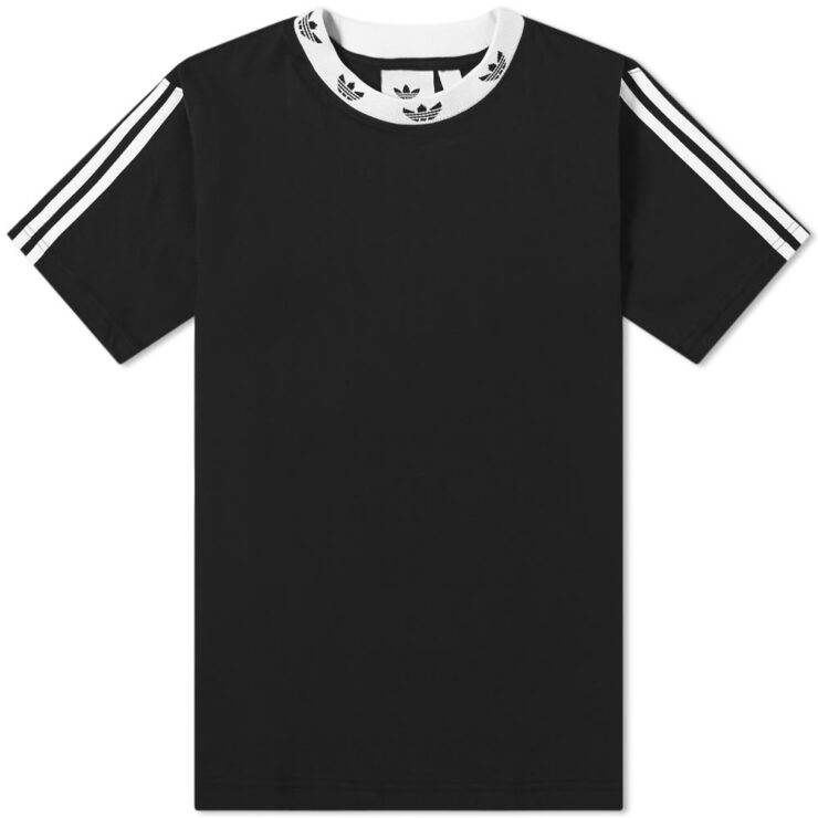 Adidas Trefoil Ribbed Neck T-Shirt 'Black'