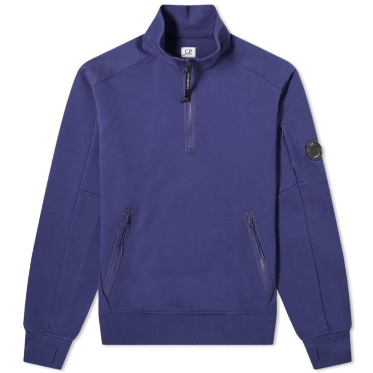 C.P. Company Arm Lens Quarter Zip Sweatshirt 'Blueprint'