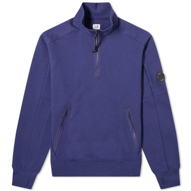C.P. Company Arm Lens Quarter Zip Sweatshirt 'Blueprint'