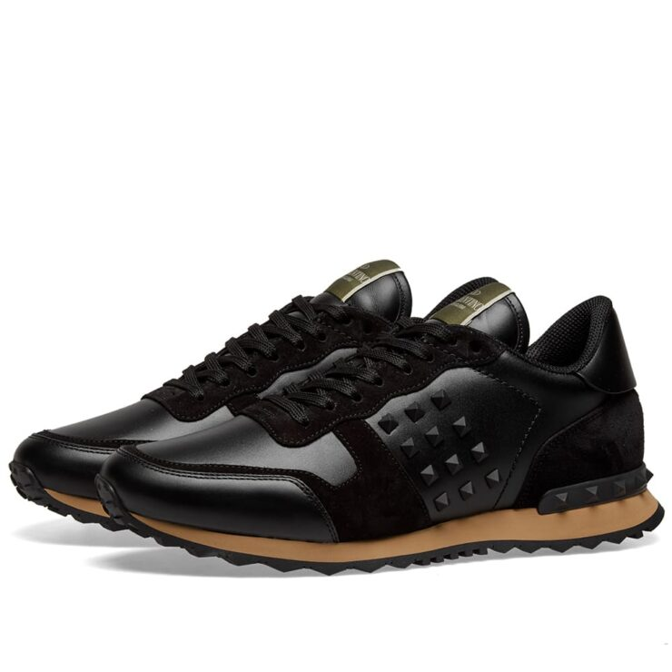 Valentino Tonal Rockrunner Sneakers in Black