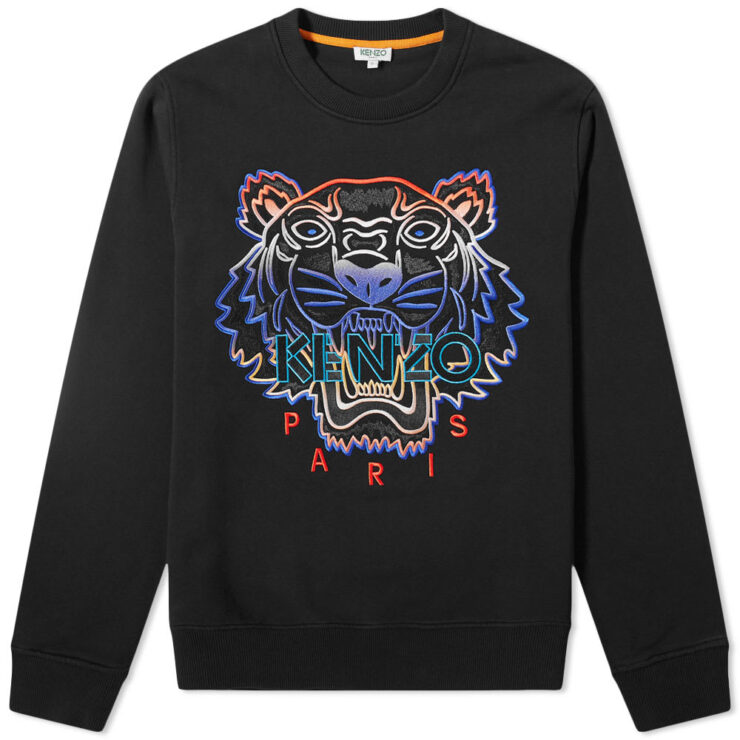 Kenzo Embroidered Tiger Crewneck Sweatshirt in Black