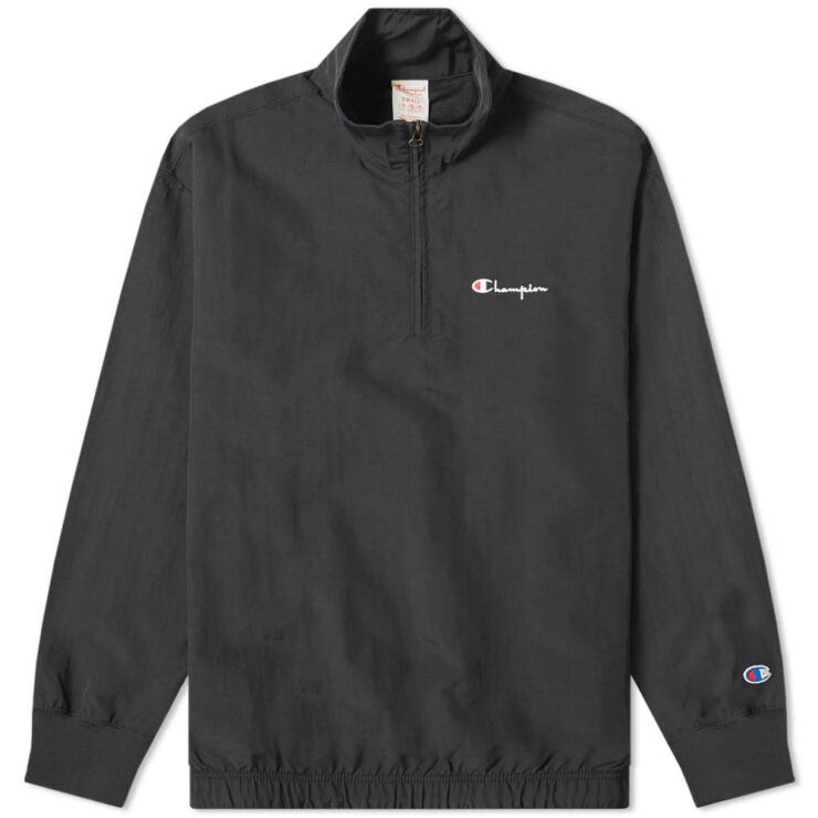 Champion Reverse Weave Half Zip Track Jacket in Black