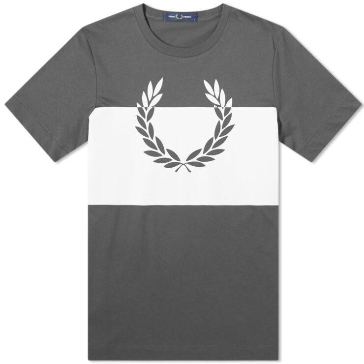 Fred Perry Printel Laurel T-Shirt in Gunmetal Grey