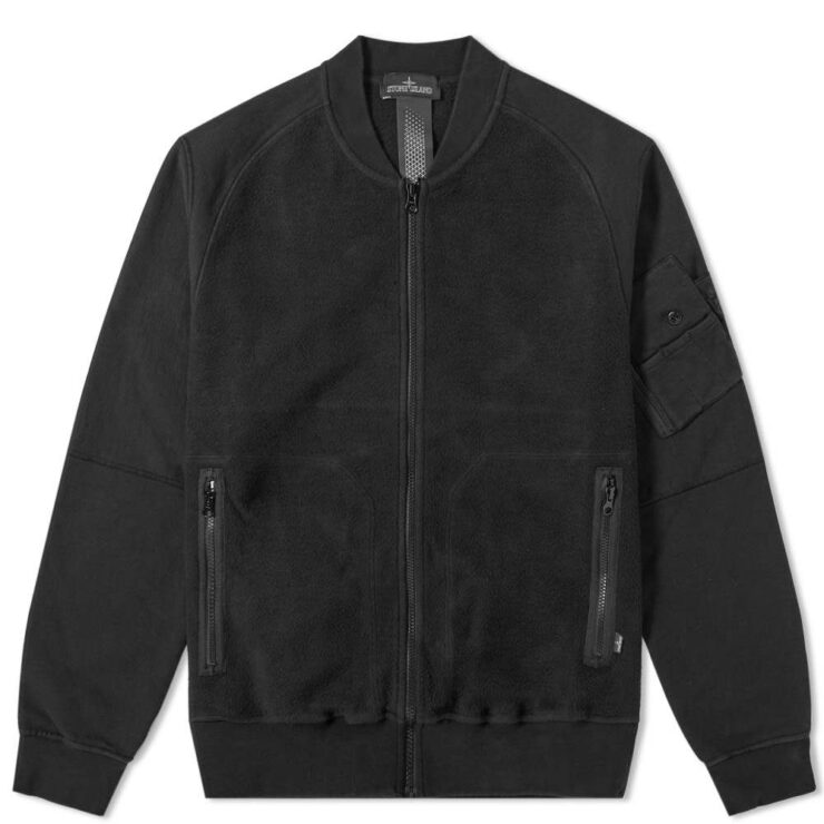 Stone Island Shadow Project Heavy Fleece-Panelled Bomber Jacket in Black