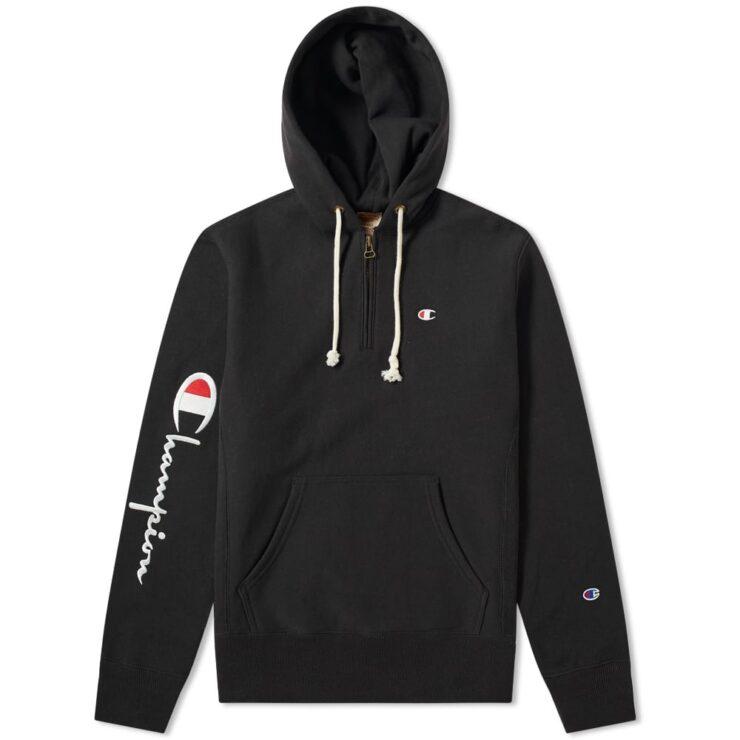 Champion Reverse Weave Half-Zip Hoodie in Black